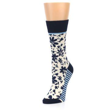 Image of Navy Cream Floral Women's Dress Socks (side-2-front-08)
