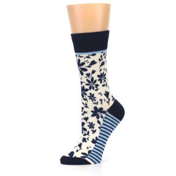 Image of Navy Cream Floral Women's Dress Socks (side-2-10)