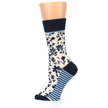 Image of Navy Cream Floral Women's Dress Socks (side-2-12)