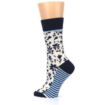 Image of Navy Cream Floral Women's Dress Socks (side-2-13)