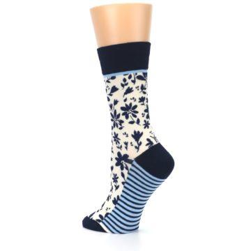 Image of Navy Cream Floral Women's Dress Socks (side-2-back-14)