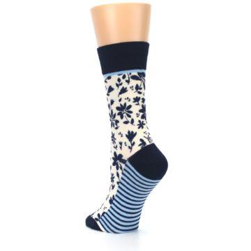 Image of Navy Cream Floral Women's Dress Socks (side-2-back-15)