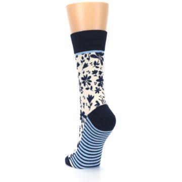 Image of Navy Cream Floral Women's Dress Socks (side-2-back-16)