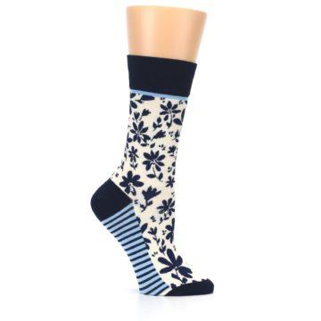 Image of Navy Cream Floral Women's Dress Socks (side-1-25)
