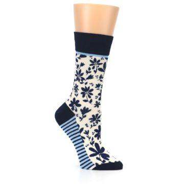Image of Navy Cream Floral Women's Dress Socks (side-1-26)