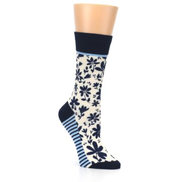 Image of Navy Cream Floral Women's Dress Socks (side-1-27)