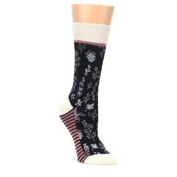 Black-White-Pink-Leaves-Womens-Dress-Socks-Yo-Sox