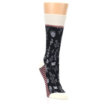 Image of Black White Pink Leaves Women's Dress Socks (side-1-front-02)