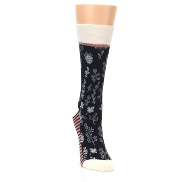 Image of Black White Pink Leaves Women's Dress Socks (side-1-front-03)