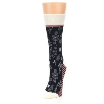 Image of Black White Pink Leaves Women's Dress Socks (side-2-front-07)