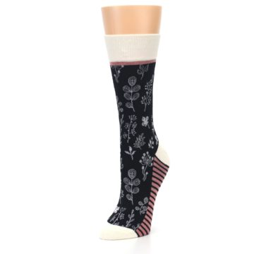 Image of Black White Pink Leaves Women's Dress Socks (side-2-front-08)