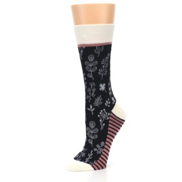 Image of Black White Pink Leaves Women's Dress Socks (side-2-09)