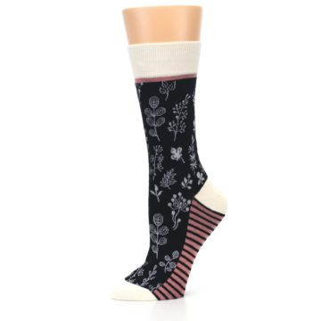 Image of Black White Pink Leaves Women's Dress Socks (side-2-10)