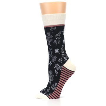 Image of Black White Pink Leaves Women's Dress Socks (side-2-11)