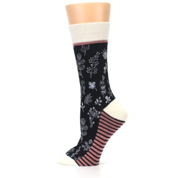 Image of Black White Pink Leaves Women's Dress Socks (side-2-12)
