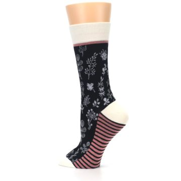Image of Black White Pink Leaves Women's Dress Socks (side-2-13)
