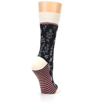 Image of Black White Pink Leaves Women's Dress Socks (side-1-back-22)