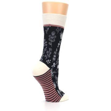 Image of Black White Pink Leaves Women's Dress Socks (side-1-23)