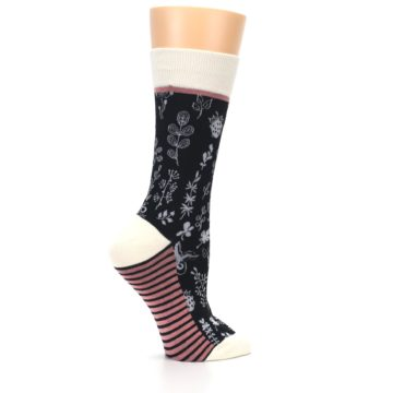 Image of Black White Pink Leaves Women's Dress Socks (side-1-24)
