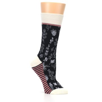 Image of Black White Pink Leaves Women's Dress Socks (side-1-26)