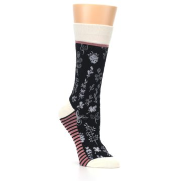 Image of Black White Pink Leaves Women's Dress Socks (side-1-27)