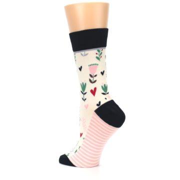Image of Cream Pink Green Flowers Women's Dress Socks (side-2-back-14)