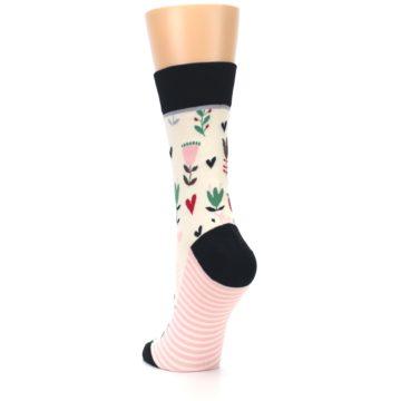 Image of Cream Pink Green Flowers Women's Dress Socks (side-2-back-16)