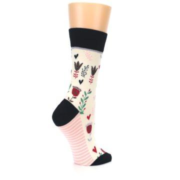 Image of Cream Pink Green Flowers Women's Dress Socks (side-1-23)