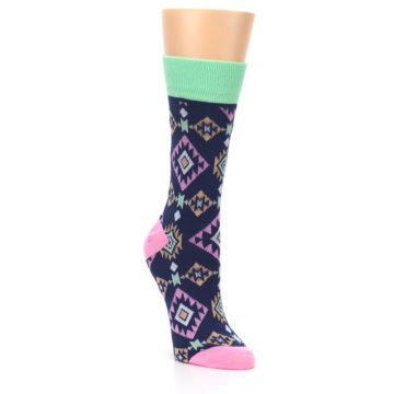 Image of Navy Pink Orange Tribal Triangles Women's Dress Socks (side-1-front-02)