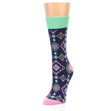 Image of Navy Pink Orange Tribal Triangles Women's Dress Socks (side-2-front-08)