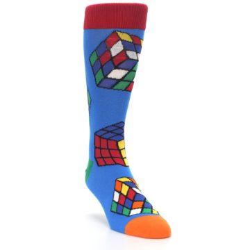 Image of Blue Multi Rubik's Cube Men's Dress Socks (side-1-front-02)