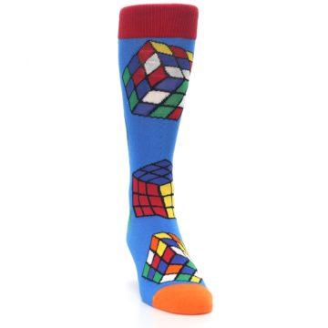 Image of Blue Multi Rubik's Cube Men's Dress Socks (side-1-front-03)
