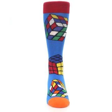 Image of Blue Multi Rubik's Cube Men's Dress Socks (front-04)