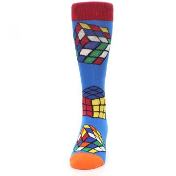 Image of Blue Multi Rubik's Cube Men's Dress Socks (front-05)