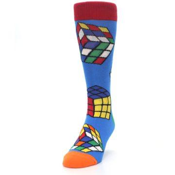 Image of Blue Multi Rubik's Cube Men's Dress Socks (side-2-front-06)