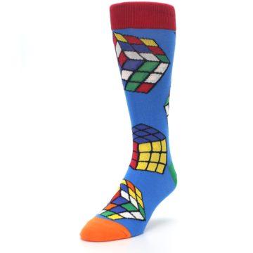 Image of Blue Multi Rubik's Cube Men's Dress Socks (side-2-front-07)