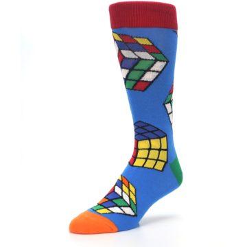 Image of Blue Multi Rubik's Cube Men's Dress Socks (side-2-front-08)