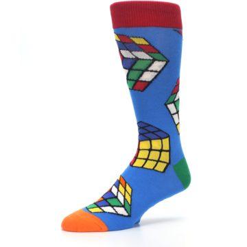 Image of Blue Multi Rubik's Cube Men's Dress Socks (side-2-09)