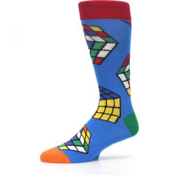 Image of Blue Multi Rubik's Cube Men's Dress Socks (side-2-10)