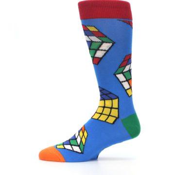 Image of Blue Multi Rubik's Cube Men's Dress Socks (side-2-11)