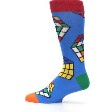 Image of Blue Multi Rubik's Cube Men's Dress Socks (side-2-12)