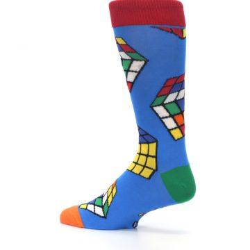 Image of Blue Multi Rubik's Cube Men's Dress Socks (side-2-13)