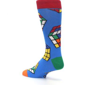 Image of Blue Multi Rubik's Cube Men's Dress Socks (side-2-back-14)