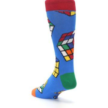 Image of Blue Multi Rubik's Cube Men's Dress Socks (side-2-back-15)