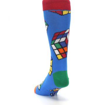 Image of Blue Multi Rubik's Cube Men's Dress Socks (side-2-back-16)