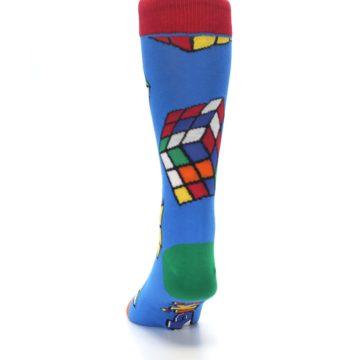 Image of Blue Multi Rubik's Cube Men's Dress Socks (back-17)