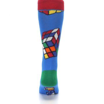 Image of Blue Multi Rubik's Cube Men's Dress Socks (back-18)