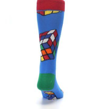 Image of Blue Multi Rubik's Cube Men's Dress Socks (back-19)