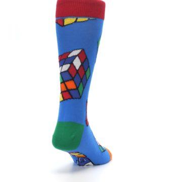Image of Blue Multi Rubik's Cube Men's Dress Socks (side-1-back-20)