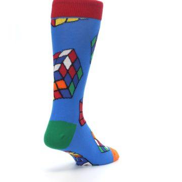 Image of Blue Multi Rubik's Cube Men's Dress Socks (side-1-back-21)
